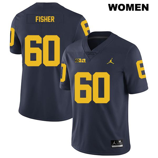 Stitched Womens no. 60 Legend Michigan Wolverines Navy Luke Fisher Jordan Authentic College Football Jersey - Luke Fisher Jersey