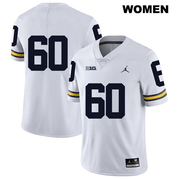 Womens Jordan no. 60 Legend Michigan Wolverines White Stitched Luke Fisher Authentic College Football Jersey - No Name - Luke Fisher Jersey