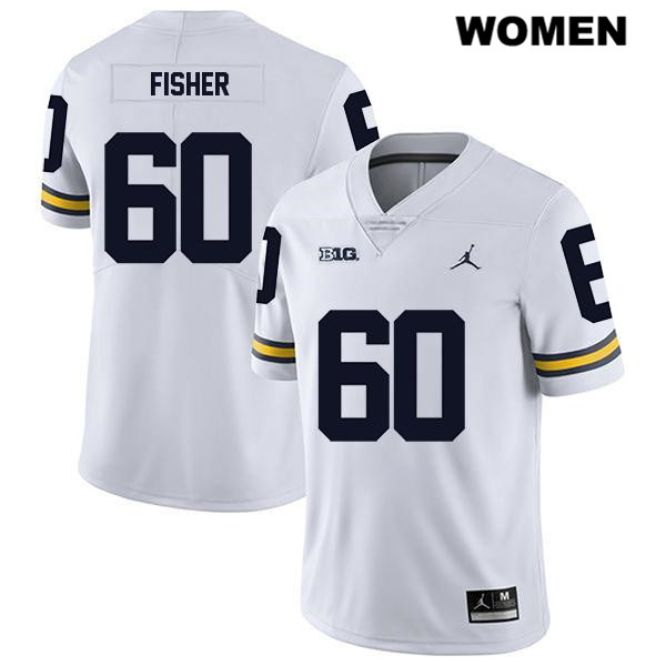 Womens Stitched no. 60 Michigan Wolverines Legend White Jordan Luke Fisher Authentic College Football Jersey - Luke Fisher Jersey