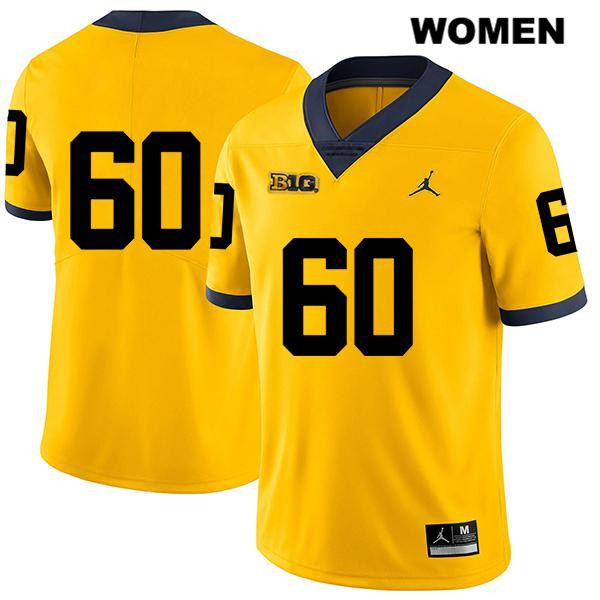Womens Stitched no. 60 Michigan Wolverines Jordan Yellow Luke Fisher Legend Authentic College Football Jersey - No Name - Luke Fisher Jersey