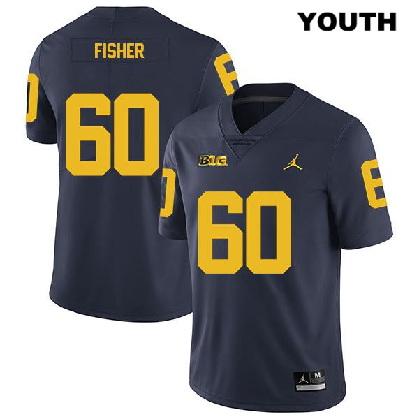 Youth no. 60 Michigan Wolverines Navy Stitched Legend Luke Fisher Jordan Authentic College Football Jersey - Luke Fisher Jersey