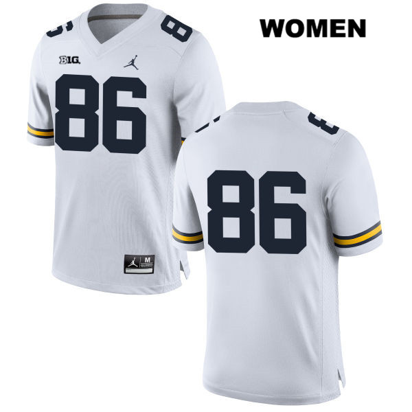 Womens no. 86 Jordan Michigan Wolverines White Luke Schoonmaker Stitched Authentic College Football Jersey - No Name - Luke Schoonmaker Jersey