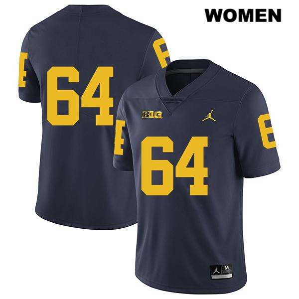 Womens Jordan no. 64 Michigan Wolverines Navy Legend Stitched Mahdi Hazime Authentic College Football Jersey - No Name