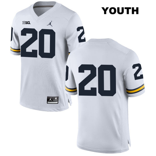 Youth Jordan no. 20 Michigan Wolverines White Matt Mitchell Stitched Authentic College Football Jersey - No Name - Matt Mitchell Jersey