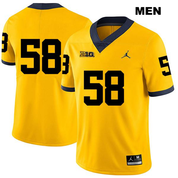 Mens no. 58 Michigan Wolverines Stitched Jordan Yellow Mazi Smith Legend Authentic College Football Jersey - No Name - Mazi Smith Jersey