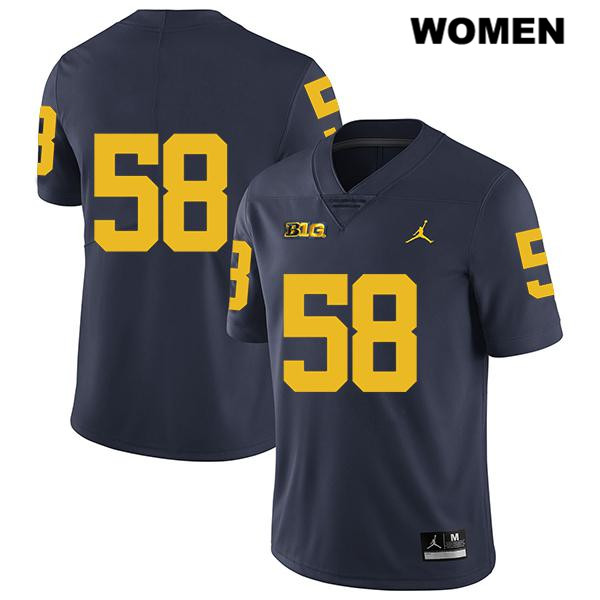 Womens Jordan no. 58 Stitched Michigan Wolverines Navy Legend Mazi Smith Authentic College Football Jersey - No Name - Mazi Smith Jersey