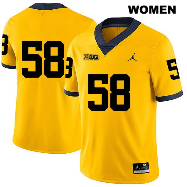 Womens no. 58 Michigan Wolverines Stitched Jordan Yellow Legend Mazi Smith Authentic College Football Jersey - No Name - Mazi Smith Jersey