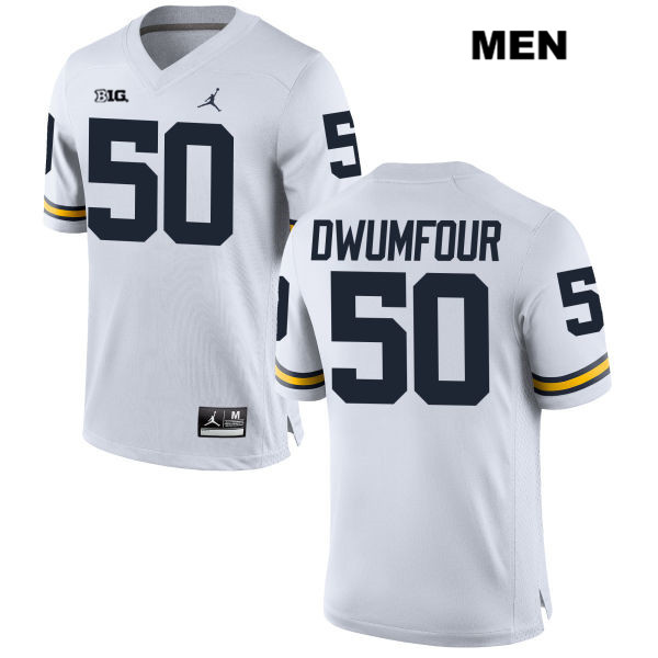 Mens no. 50 Jordan Michigan Wolverines White Stitched Michael Dwumfour Authentic College Football Jersey - Michael Dwumfour Jersey