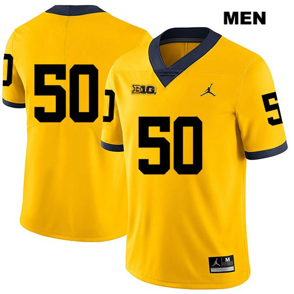 Mens no. 50 Michigan Wolverines Yellow Legend Stitched Michael Dwumfour Jordan Authentic College Football Jersey - No Name - Michael Dwumfour Jersey