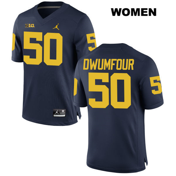 Womens no. 50 Michigan Wolverines Stitched Navy Michael Dwumfour Jordan Authentic College Football Jersey - Michael Dwumfour Jersey