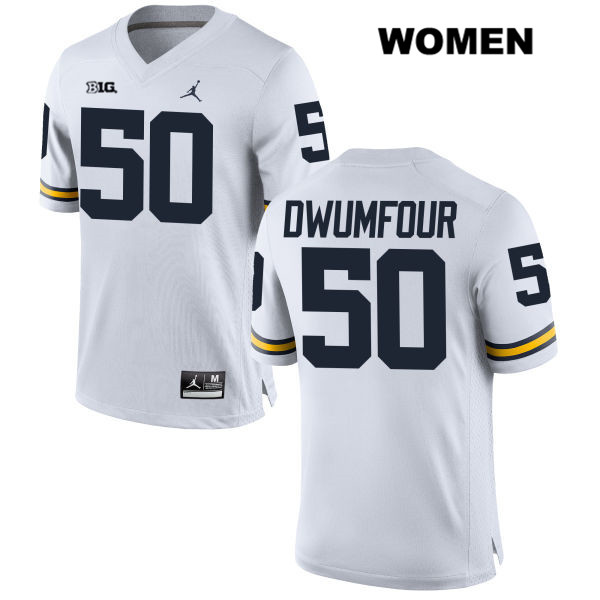 Womens no. 50 Jordan Michigan Wolverines White Stitched Michael Dwumfour Authentic College Football Jersey - Michael Dwumfour Jersey