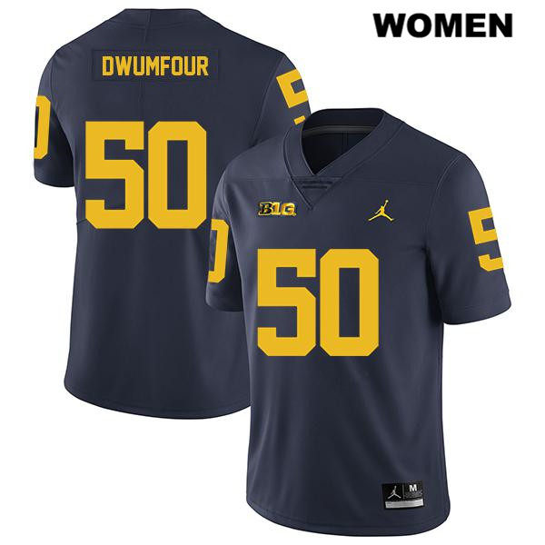 Legend Womens no. 50 Michigan Wolverines Jordan Navy Michael Dwumfour Stitched Authentic College Football Jersey - Michael Dwumfour Jersey