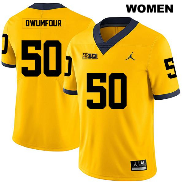 Womens no. 50 Legend Michigan Wolverines Stitched Jordan Yellow Michael Dwumfour Authentic College Football Jersey - Michael Dwumfour Jersey