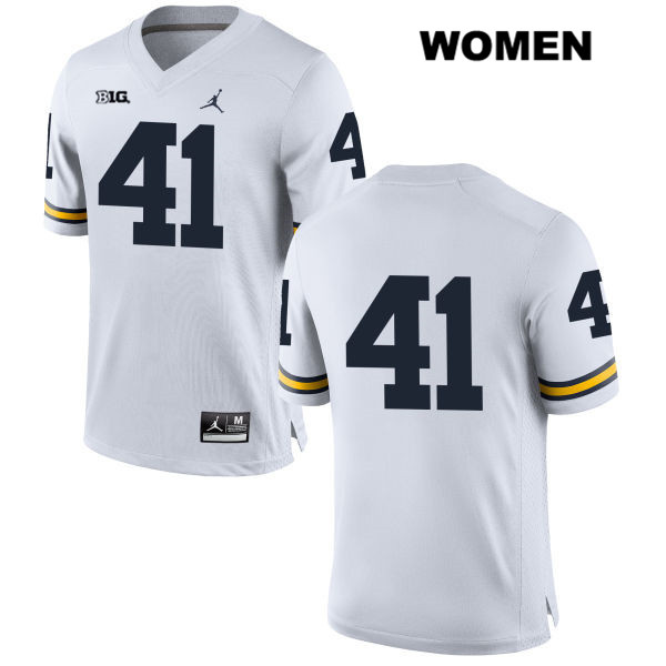 Jordan Womens Stitched no. 41 Michigan Wolverines White Michael Hirsch Authentic College Football Jersey - No Name - Michael Hirsch Jersey