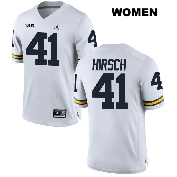 Womens no. 41 Stitched Michigan Wolverines Jordan White Michael Hirsch Authentic College Football Jersey - Michael Hirsch Jersey