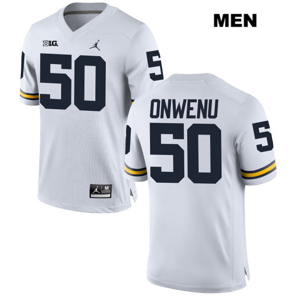 Mens no. 50 Stitched Michigan Wolverines Jordan White Michael Onwenu Authentic College Football Jersey - Michael Onwenu Jersey