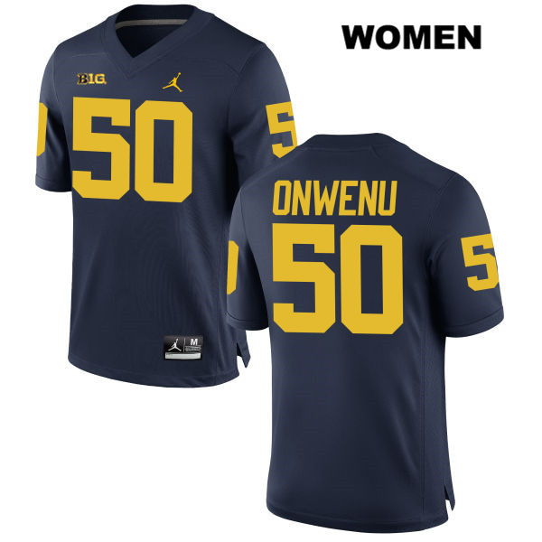 Womens Stitched no. 50 Michigan Wolverines Navy Michael Onwenu Jordan Authentic College Football Jersey - Michael Onwenu Jersey