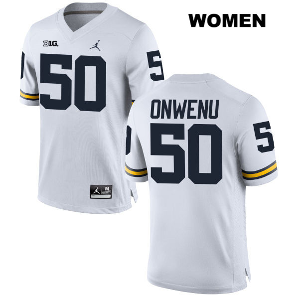 Womens no. 50 Jordan Michigan Wolverines White Michael Onwenu Stitched Authentic College Football Jersey - Michael Onwenu Jersey