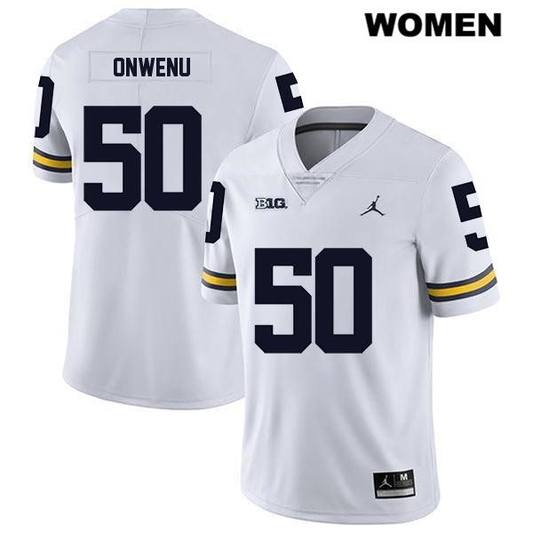 Womens no. 50 Michigan Wolverines Jordan White Legend Michael Onwenu Stitched Authentic College Football Jersey - Michael Onwenu Jersey