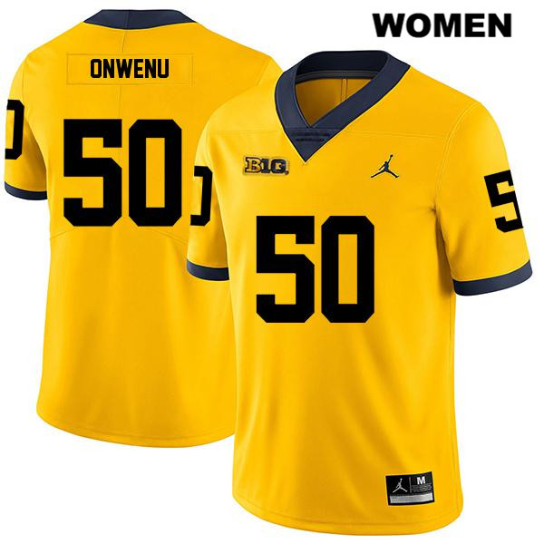 Legend Womens no. 50 Jordan Michigan Wolverines Stitched Yellow Michael Onwenu Authentic College Football Jersey - Michael Onwenu Jersey