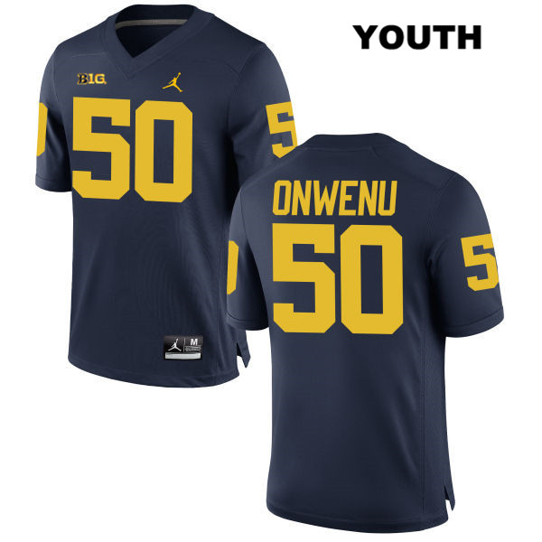 Youth no. 50 Michigan Wolverines Stitched Jordan Navy Michael Onwenu Authentic College Football Jersey - Michael Onwenu Jersey