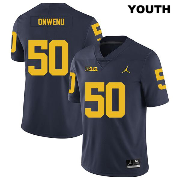 Youth no. 50 Michigan Wolverines Legend Jordan Navy Michael Onwenu Stitched Authentic College Football Jersey - Michael Onwenu Jersey