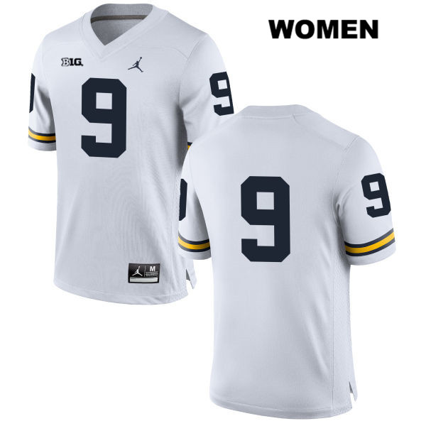 Womens no. 9 Jordan Michigan Wolverines White Mike McCray Stitched Authentic College Football Jersey - No Name - Mike McCray Jersey