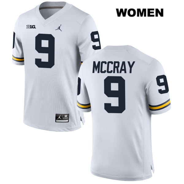 Womens Jordan no. 9 Stitched Michigan Wolverines White Mike McCray Authentic College Football Jersey - Mike McCray Jersey