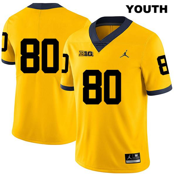 Youth no. 80 Jordan Michigan Wolverines Legend Yellow Mike Morris Stitched Authentic College Football Jersey - No Name