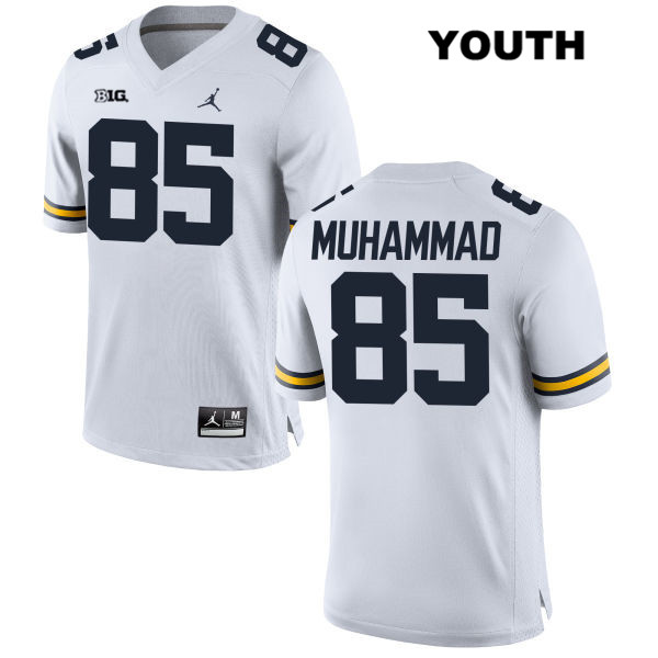 Youth no. 85 Stitched Michigan Wolverines White Mustapha Muhammad Jordan Authentic College Football Jersey - Mustapha Muhammad Jersey