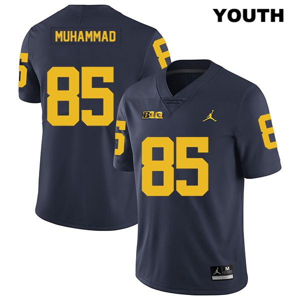 Stitched Youth no. 85 Michigan Wolverines Navy Jordan Mustapha Muhammad Legend Authentic College Football Jersey - Mustapha Muhammad Jersey