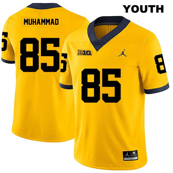 Youth no. 85 Michigan Wolverines Stitched Yellow Jordan Mustapha Muhammad Legend Authentic College Football Jersey - Mustapha Muhammad Jersey