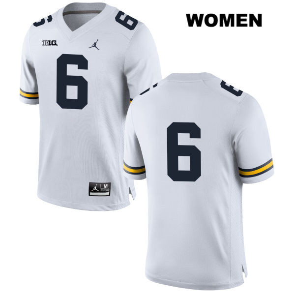 Womens no. 6 Michigan Wolverines Jordan White Stitched Myles Sims Authentic College Football Jersey - No Name - Myles Sims Jersey