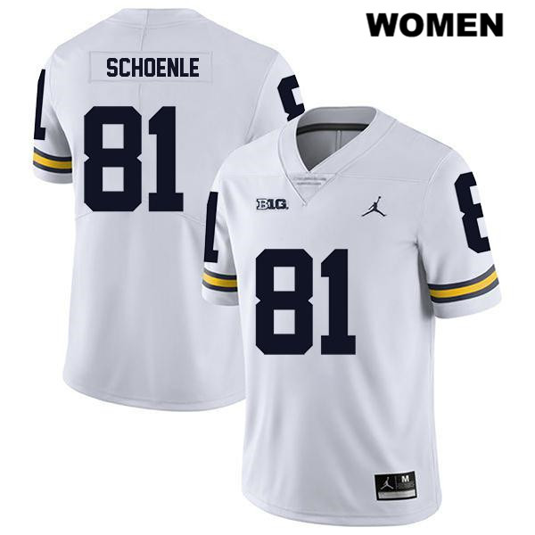 Stitched Womens no. 81 Michigan Wolverines White Nate Schoenle Jordan Legend Authentic College Football Jersey - Nate Schoenle Jersey