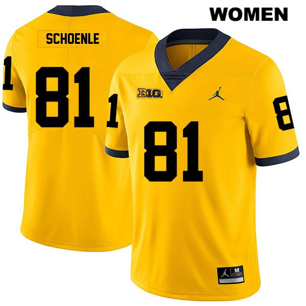 Stitched Womens Legend no. 81 Michigan Wolverines Yellow Jordan Nate Schoenle Authentic College Football Jersey - Nate Schoenle Jersey