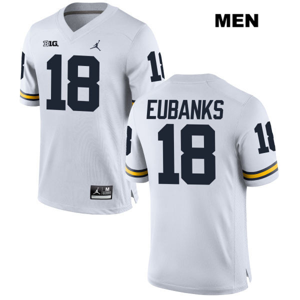 Jordan Mens no. 18 Michigan Wolverines White Stitched Nick Eubanks Authentic College Football Jersey - Nick Eubanks Jersey