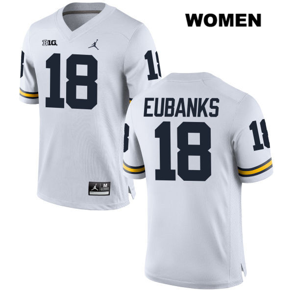 Stitched Womens no. 18 Michigan Wolverines Jordan White Nick Eubanks Authentic College Football Jersey - Nick Eubanks Jersey