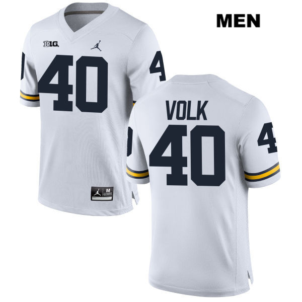 Stitched Mens Jordan no. 40 Michigan Wolverines White Nick Volk Authentic College Football Jersey - Nick Volk Jersey