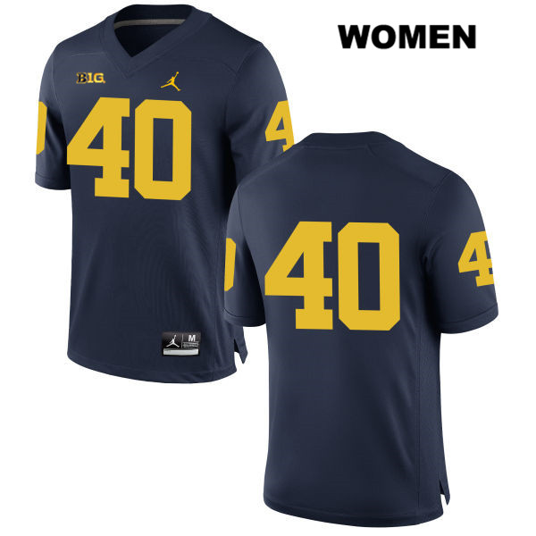 Womens no. 40 Michigan Wolverines Jordan Navy Nick Volk Stitched Authentic College Football Jersey - No Name - Nick Volk Jersey