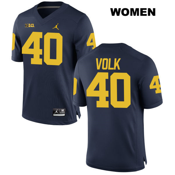 Jordan Womens no. 40 Michigan Wolverines Navy Stitched Nick Volk Authentic College Football Jersey - Nick Volk Jersey
