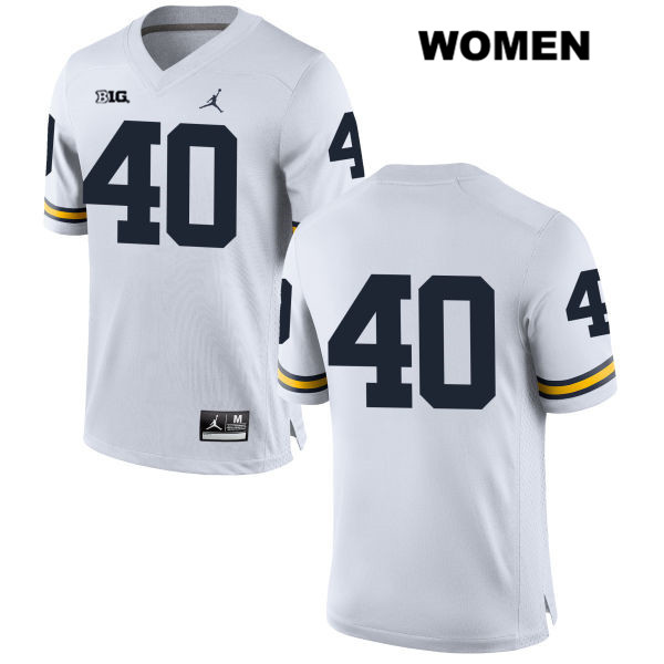 Womens Stitched no. 40 Michigan Wolverines White Jordan Nick Volk Authentic College Football Jersey - No Name - Nick Volk Jersey