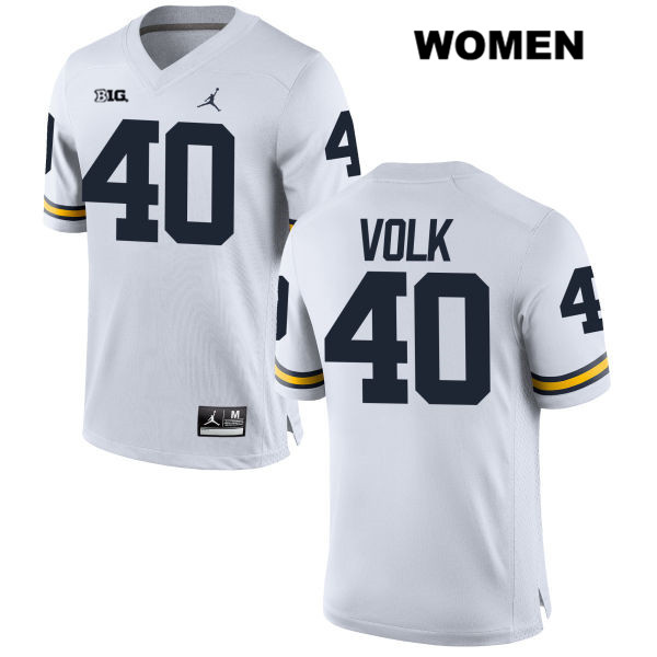 Womens no. 40 Stitched Michigan Wolverines White Nick Volk Jordan Authentic College Football Jersey - Nick Volk Jersey