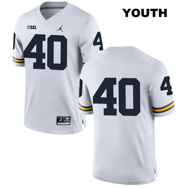 Youth no. 40 Jordan Michigan Wolverines Stitched White Nick Volk Authentic College Football Jersey - No Name - Nick Volk Jersey