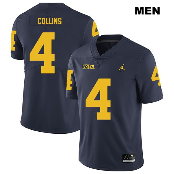 Legend Mens no. 4 Stitched Michigan Wolverines Navy Nico Collins Jordan Authentic College Football Jersey - Nico Collins Jersey