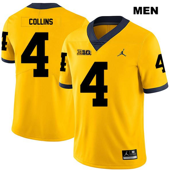 Mens no. 4 Jordan Michigan Wolverines Legend Stitched Yellow Nico Collins Authentic College Football Jersey - Nico Collins Jersey