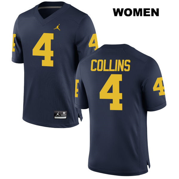 Womens Stitched no. 4 Michigan Wolverines Jordan Navy Nico Collins Authentic College Football Jersey - Nico Collins Jersey