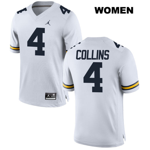 Womens no. 4 Jordan Michigan Wolverines White Nico Collins Stitched Authentic College Football Jersey - Nico Collins Jersey