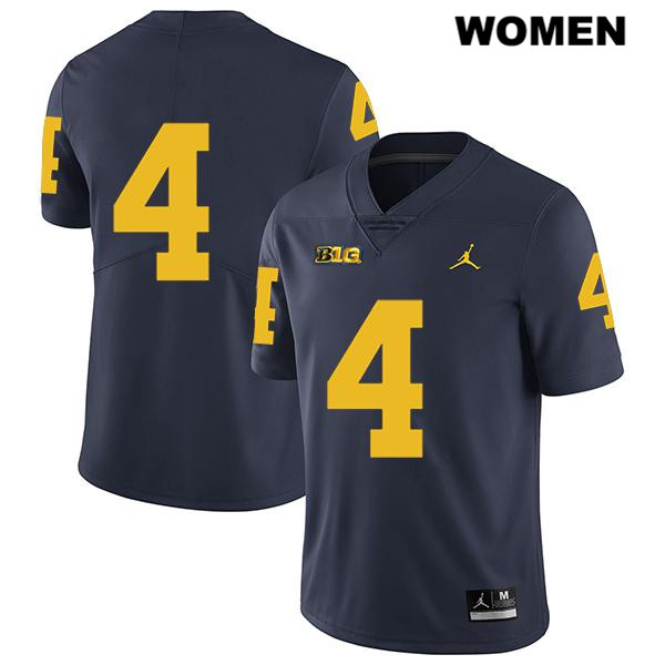 Womens Stitched no. 4 Jordan Michigan Wolverines Navy Legend Nico Collins Authentic College Football Jersey - No Name - Nico Collins Jersey