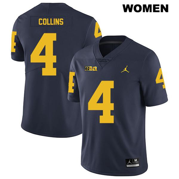 Womens Legend no. 4 Stitched Michigan Wolverines Jordan Navy Nico Collins Authentic College Football Jersey - Nico Collins Jersey