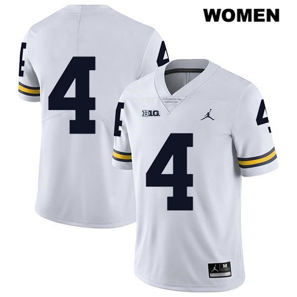 Womens no. 4 Michigan Wolverines White Legend Stitched Nico Collins Jordan Authentic College Football Jersey - No Name - Nico Collins Jersey